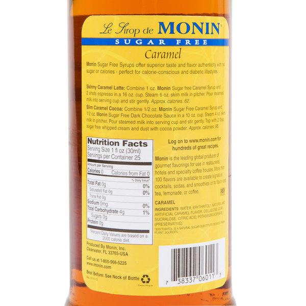 Monin 750 Ml Sugar Free Caramel Flavoring Syrup