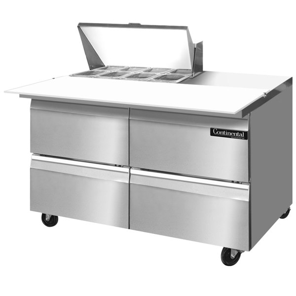 """Continental Refrigerator SW48-8C-D 48"""" 4 Drawer Cutting Top Refrigerated Sandwich Prep Table"""