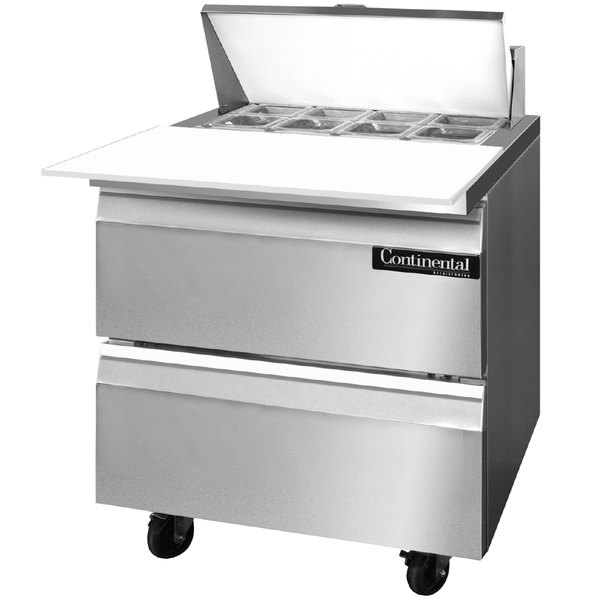 "Continental Refrigerator SW32-8C-D 32"" 2 Drawer Cutting Top Refrigerated Sandwich Prep Table"