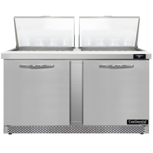 """Continental Refrigerator SW60-24M-FB 60"""" 2 Door Mighty Top Front Breathing Refrigerated Sandwich Prep Table"""
