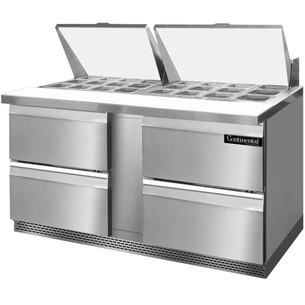 "Continental Refrigerator SW60-24M-FB-D 60"" 4 Drawer Mighty Top Front Breathing Refrigerated Sandwich Prep Table"