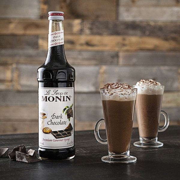 Monin 750 mL Premium Dark Chocolate Flavoring Syrup Main Image 2