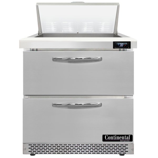 """Continental Refrigerator SW32-8-FB-D 32"""" 2 Drawer Front Breathing Refrigerated Sandwich Prep Table"""