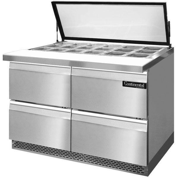 """Continental Refrigerator SW48-18M-HGL-FB-D 48"""" 4 Drawer Mighty Top Front Breathing Hinged Glass Lid Refrigerated Sandwich Prep Table"""
