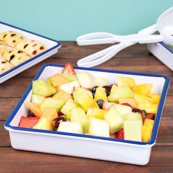 """Cal-Mil 3466-15 Enamelware 10"""" x 10"""" x 2"""" White Deep Melamine Serving Tray with Blue Rim Main Image 7"""