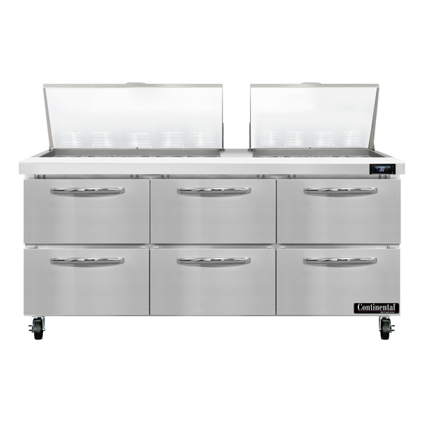 """Continental Refrigerator SW72-27M-D 72"""" 6 Drawer Mighty Top Refrigerated Sandwich Prep Table"""