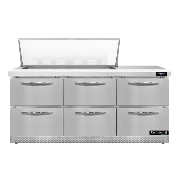 """Continental Refrigerator SW72-18M-FB-D 72"""" 6 Drawer Mighty Top Front Breathing Refrigerated Sandwich Prep Table"""