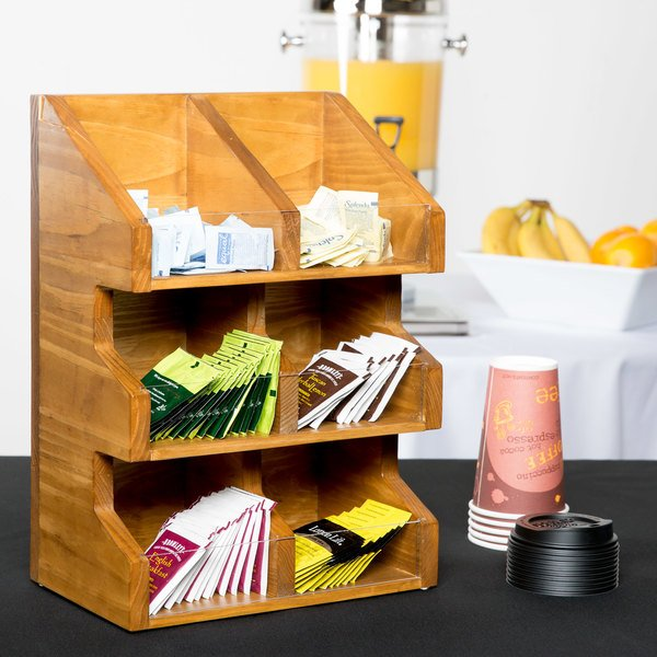 """Cal-Mil 2054-99 Madera Rustic Pine 3 Tier, 6 Bin Condiment Display with Clear Bin Face - 11"""" x 7"""" x 16"""" Main Image 5"""