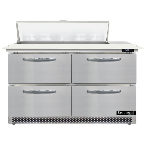 """Continental Refrigerator SW48-10C-FB-D 48"""" 4 Drawer Cutting Top Front Breathing Refrigerated Sandwich Prep Table"""