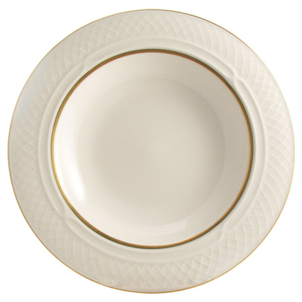 Homer Laughlin 1420-0356 Westminster Gothic Ivory (American White) 10.5 oz. Wide Rim China Soup Bowl - 24/Case