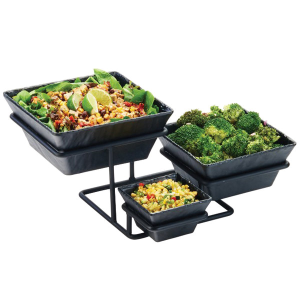 "Cal-Mil 3456-13 3 Tier Display with 3 Faux Slate Bowls - 17 1/4"" x 14"" x 8"""