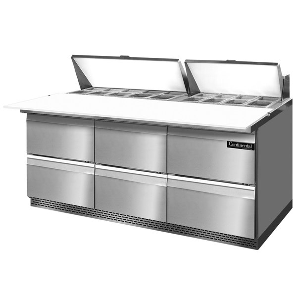 """Continental Refrigerator SW72-18C-FB-D 72"""" 6 Drawer Cutting Top Front Breathing Refrigerated Sandwich Prep Table"""
