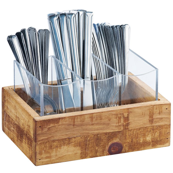 """Cal-Mil 3408-99 Madera Reclaimed Wood 3 Compartment Flatware Organizer - 9"""" x 6"""" x 5 1/4"""""""