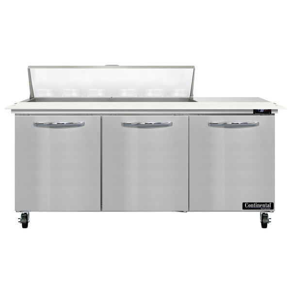 """Continental Refrigerator SW72-12C 72"""" 3 Door Cutting Top Refrigerated Sandwich Prep Table Main Image 1"""