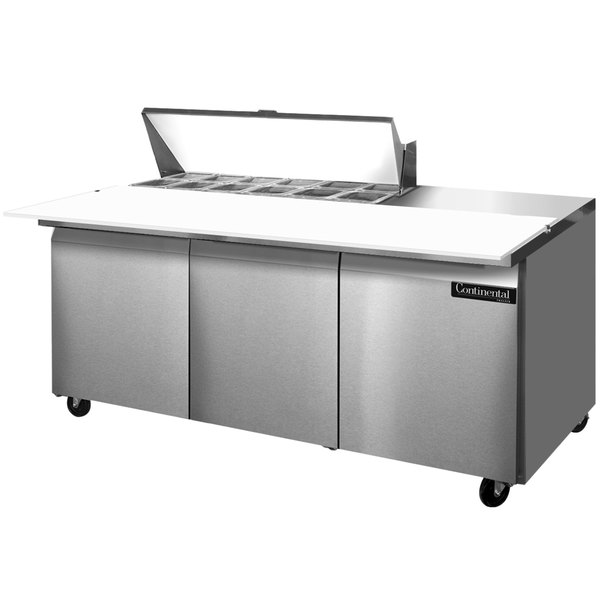 "Continental Refrigerator SW72-12C 72"" 3 Door Cutting Top Refrigerated Sandwich Prep Table"