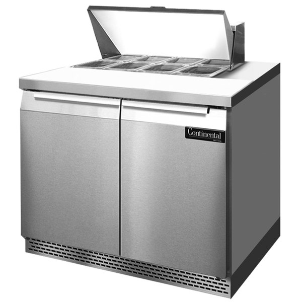 """Continental Refrigerator SW36-8-FB 36"""" 2 Door Front Breathing Refrigerated Sandwich Prep Table"""