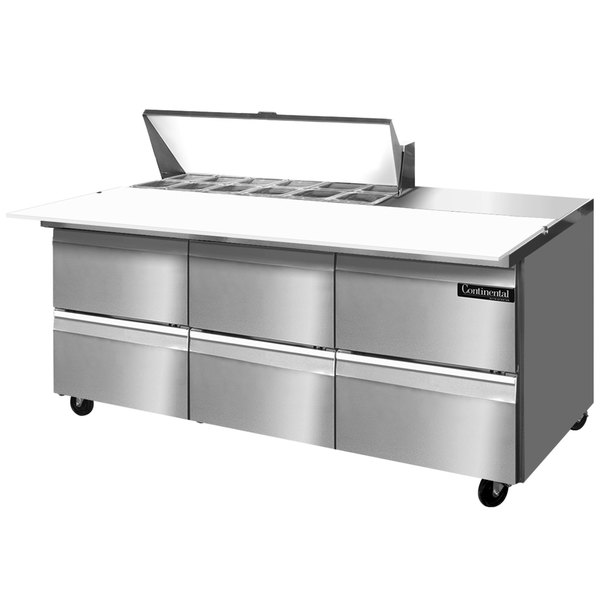 "Continental Refrigerator SW72-12C-D 72"" 6 Drawer Cutting Top Refrigerated Sandwich Prep Table"