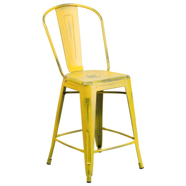 Flash Furniture ET-3534-24-YL-GG Distressed Yellow Metal Counter Height Stool with Vertical Slat Back and Drain Hole Seat Main Image 1