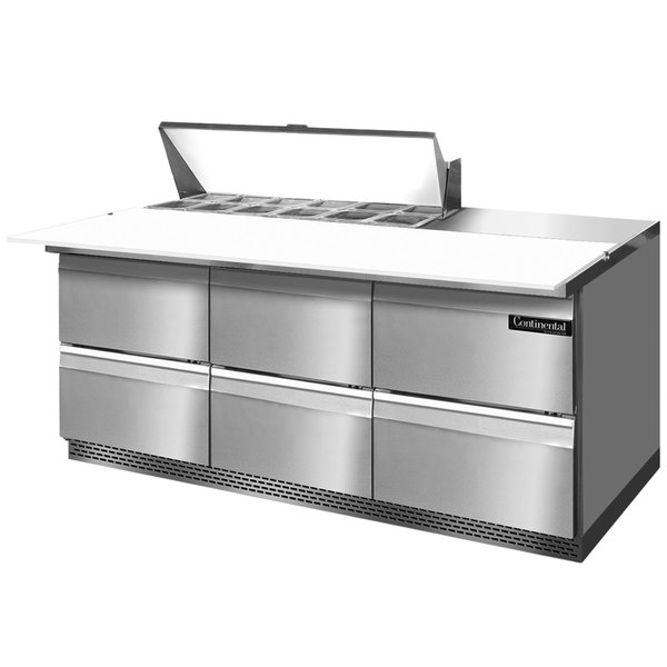 "Continental Refrigerator SW72-12C-FB-D 72"" 6 Drawer Cutting Top Front Breathing Refrigerated Sandwich Prep Table"