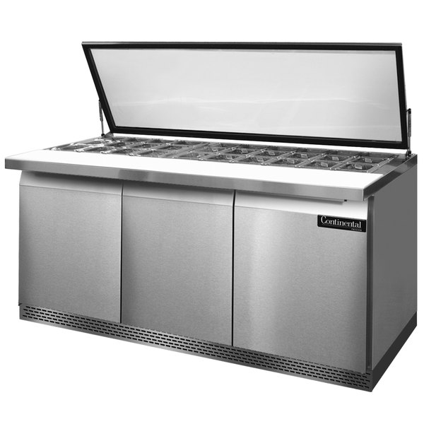 """Continental Refrigerator SW72-30M-HGL-FB 72"""" 3 Door Mighty Top Front Breathing Hinged Glass Lid Refrigerated Sandwich Prep Table"""
