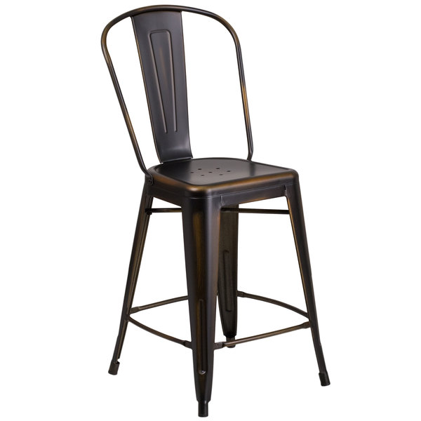 Flash Furniture ET-3534-24-COP-GG Distressed Copper Metal Counter Height Stool with Vertical Slat Back and Drain Hole Seat