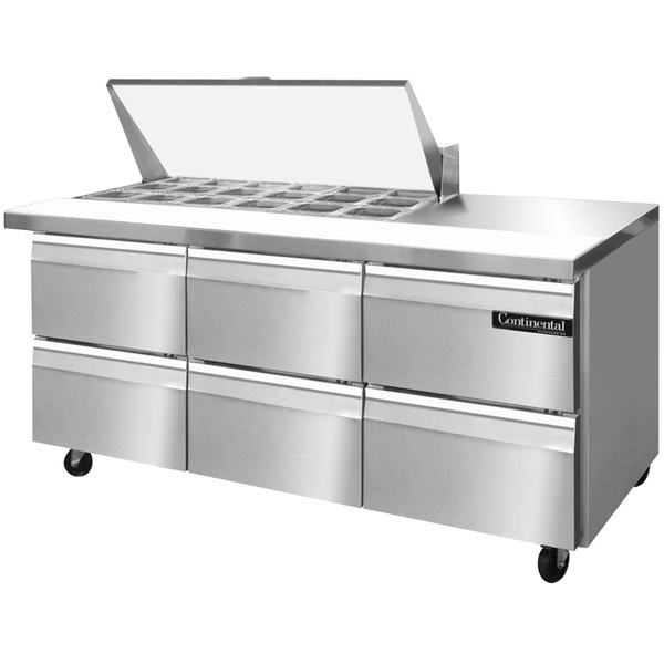 "Continental Refrigerator SW72-18M-D 72"" 6 Drawer Mighty Top Refrigerated Sandwich Prep Table"