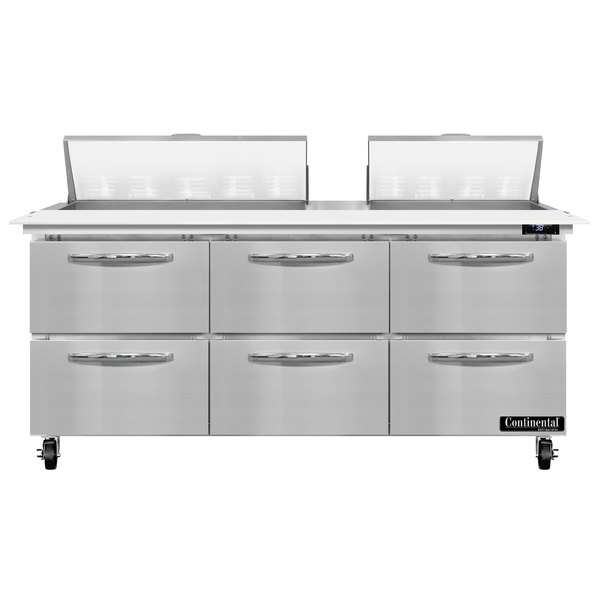"""Continental Refrigerator SW72-18C-D 72"""" 6 Drawer Cutting Top Refrigerated Sandwich Prep Table Main Image 1"""