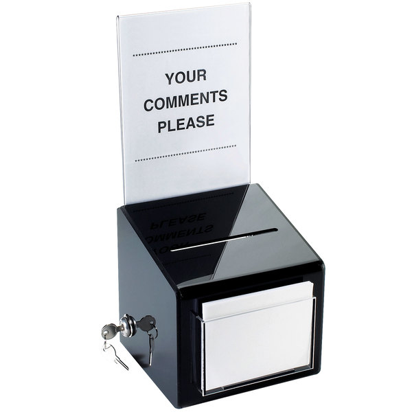 "Cal-Mil 390 Suggestion Box with Cardholder - 7"" x 7"" x 16"""