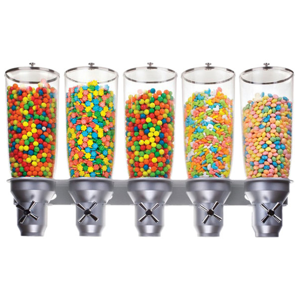 """Cal-Mil 3518-5-39 Platinum Wall Mount Turn and Serve 5 Cylinder Cereal Dispenser - 31"""" x 6 3/4"""" x 19 3/4"""""""