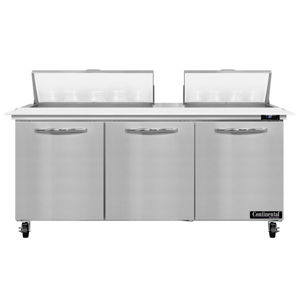 """Continental Refrigerator SW72-18C 72"""" 3 Door Cutting Top Refrigerated Sandwich Prep Table Main Image 1"""