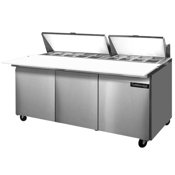 """Continental Refrigerator SW72-18C 72"""" 3 Door Cutting Top Refrigerated Sandwich Prep Table"""