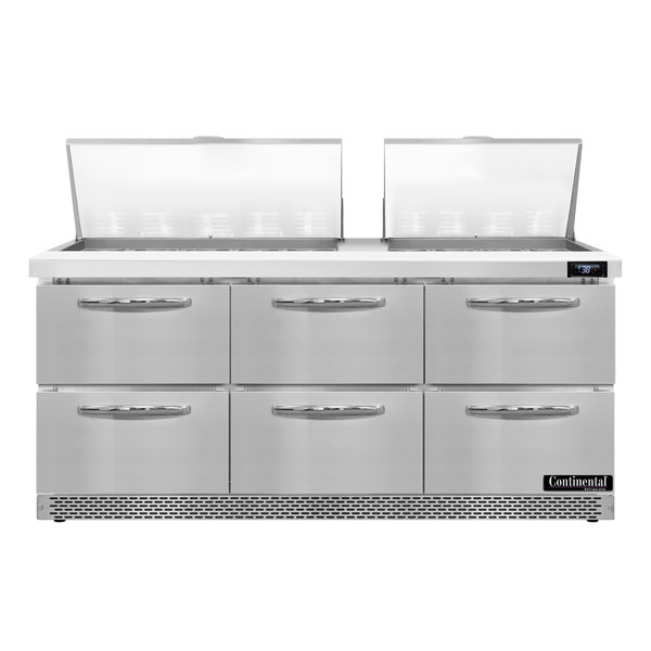 """Continental Refrigerator SW72-27M-FB-D 72"""" 6 Drawer Mighty Top Front Breathing Refrigerated Sandwich Prep Table"""
