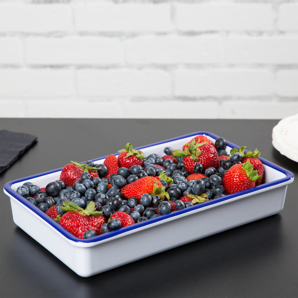 """Cal-Mil 3470-15 Enamelware 12"""" x 7"""" x 2"""" White Deep Melamine Serving Tray with Blue Rim Main Image 6"""