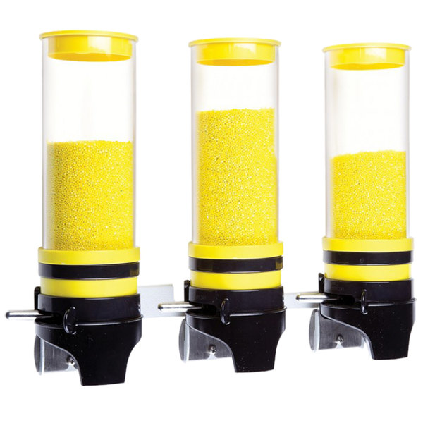 """Cal-Mil 3525-3-42 Yellow 3 Cylinder Topping Click Dispenser -15 3/4"""" x 7 1/4"""" x 12"""""""