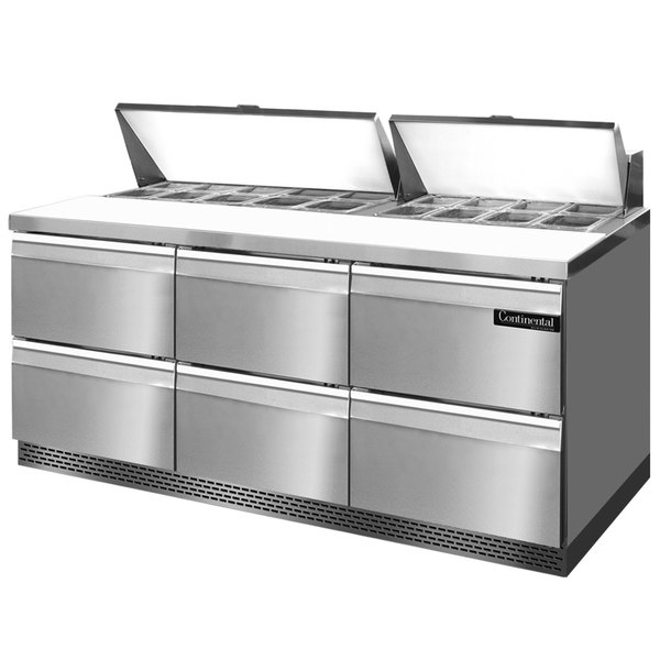 """Continental Refrigerator SW72-18-FB-D 72"""" 6 Drawer Front Breathing Refrigerated Sandwich Prep Table"""