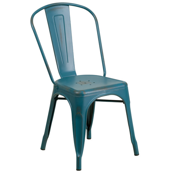 Flash Furniture ET-3534-KB-GG Distressed Kelly Blue Stackable Metal Chair with Vertical Slat Back and Drain Hole Seat