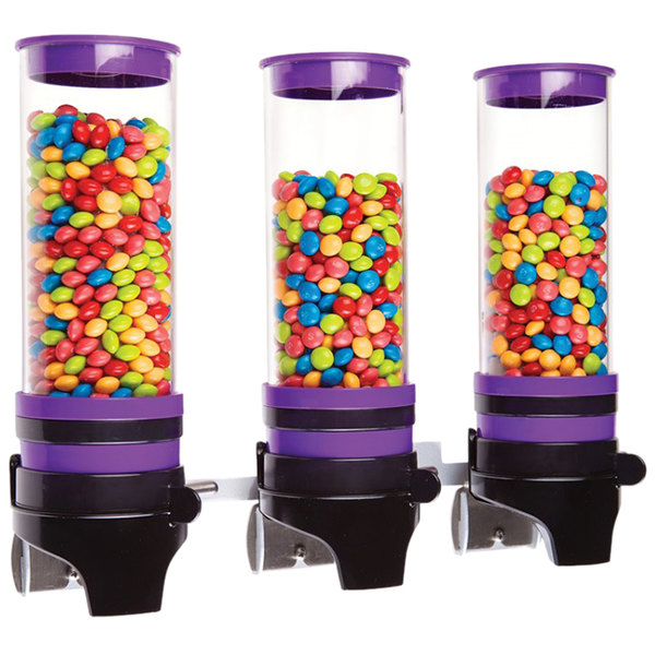 """Cal-Mil 3525-3-79 Purple 3 Cylinder Topping Click Dispenser - 15 3/4"""" x 7 1/4"""" x 12"""""""