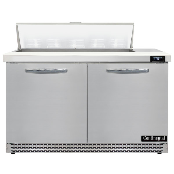 """Continental Refrigerator SW48-10-FB 48"""" 2 Door Front Breathing Refrigerated Sandwich Prep Table"""