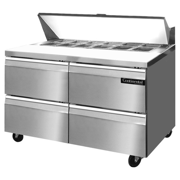 """Continental Refrigerator SW48-12-D 48"""" 4 Drawer Refrigerated Sandwich Prep Table"""
