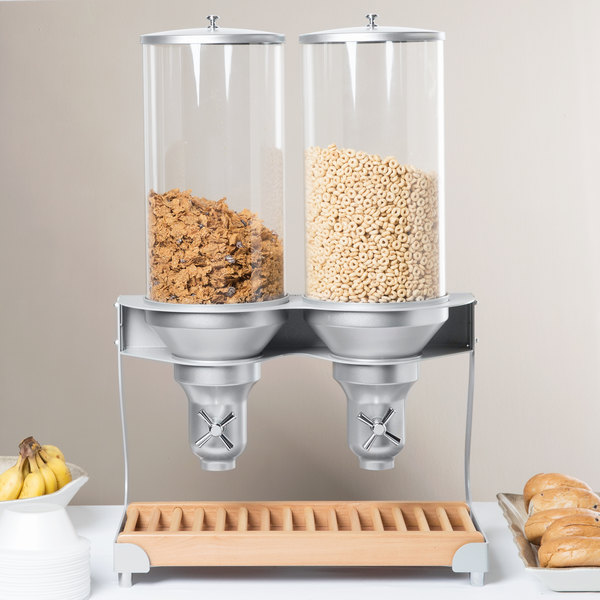 """Cal-Mil 3513-2-98 Beechwood Turn and Serve 2 Cylinder Cereal Dispenser - 20"""" x 11"""" x 31"""""""