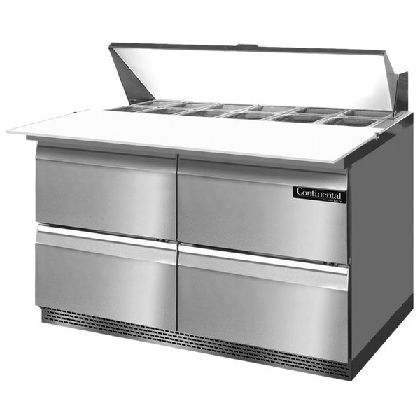 "Continental Refrigerator SW48-12C-FB-D 48"" 4 Drawer Cutting Top Front Breathing Refrigerated Sandwich Prep Table"