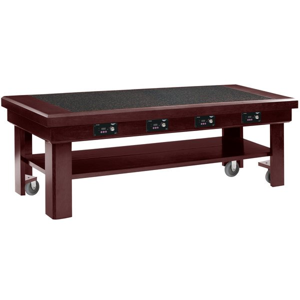 """Vollrath 7552384 76"""" Mahogany Induction Buffet Table with 4 Warmers - 120V"""