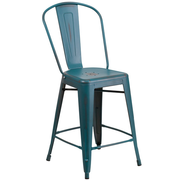 Beau Flash Furniture ET 3534 24 KB GG Distressed Kelly Blue Metal Counter Height  Stool With Vertical ...