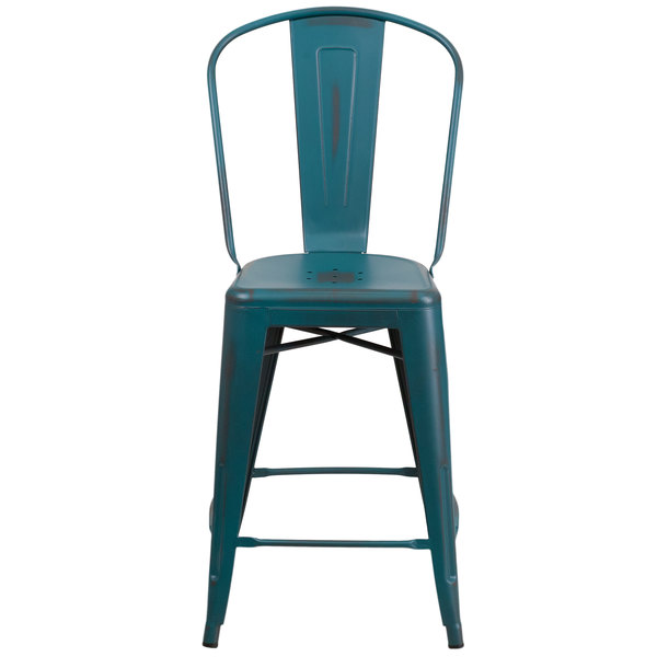 Fine Flash Furniture Et 3534 24 Kb Gg Distressed Kelly Blue Metal Counter Height Stool With Vertical Slat Back And Drain Hole Seat Machost Co Dining Chair Design Ideas Machostcouk