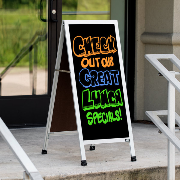 """Aarco AA-311 42"""" x 18"""" Aluminum A-Frame Sign Board with Black Marker Board"""