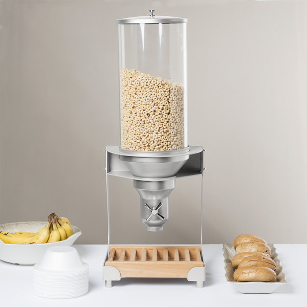 """Cal-Mil 3513-1-98 Beechwood Turn and Serve 1 Cylinder Cereal Dispenser - 11 3/4"""" x 11"""" x 31"""" Main Image 9"""