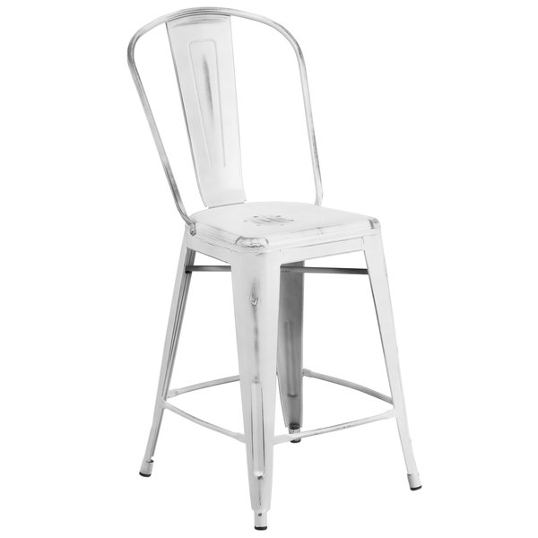 Flash Furniture ET-3534-24-WH-GG Distressed White Metal Counter Height Stool with Vertical Slat Back ...  sc 1 st  Webstaurant Store & Furniture ET-3534-24-WH-GG Distressed White Metal Counter Height ... islam-shia.org