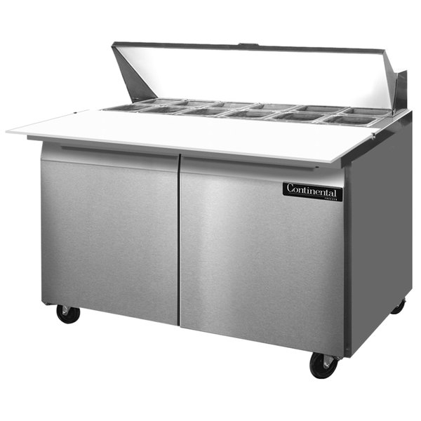 """Continental Refrigerator SW48-12C 48"""" 2 Door Cutting Top Refrigerated Sandwich Prep Table Main Image 1"""