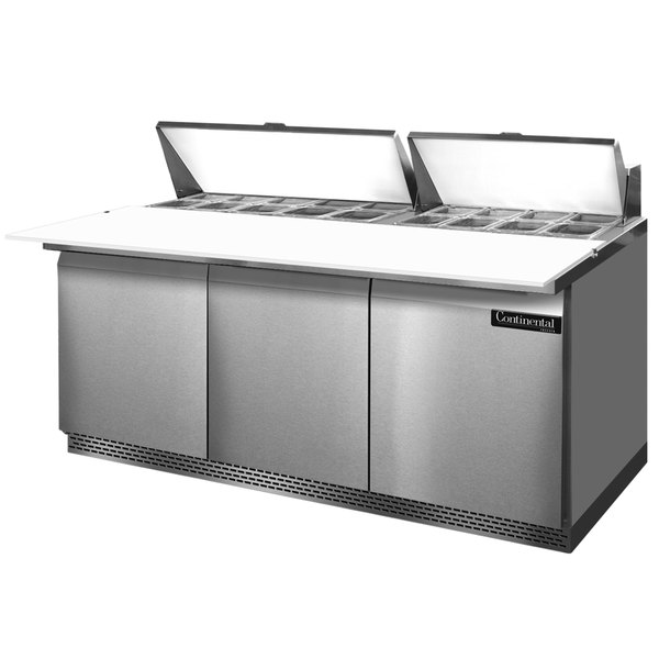 """Continental Refrigerator SW72-18C-FB 72"""" 3 Door Cutting Top Front Breathing Refrigerated Sandwich Prep Table"""