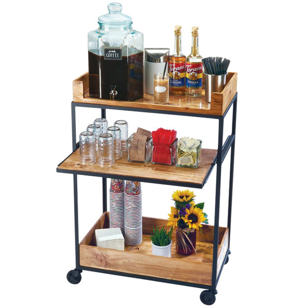 """Cal-Mil 3461-99 Madera Reclaimed Wood Beverage Cart with Sliding Middle Shelf - 27"""" x 16"""" x 41"""""""